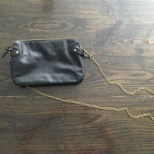 Black Crossbody Bag with Gold Chain